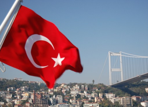 Bosphorus Bridge and the Turkish flag