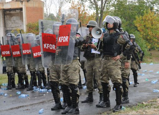 Turkish Land Forces KFOR soldiers in riot training