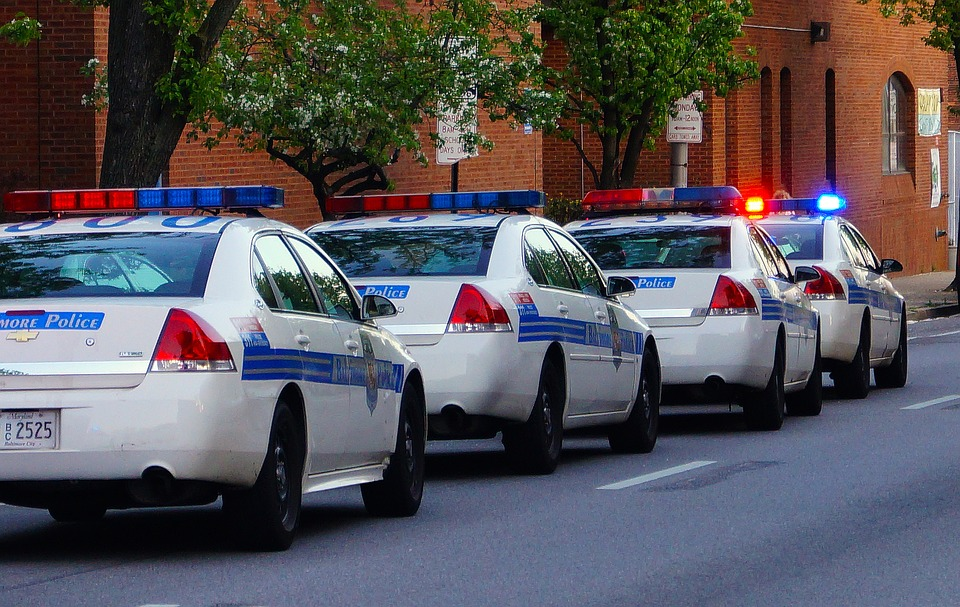 Police cars in Baltimore, USA