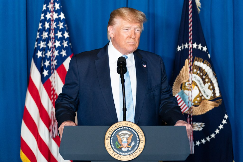 US President Donald J. Trump delivers remarks during a press conference Friday, Jan. 3, 2020, at Mar-a-Lago in Palm Beach, Fla.