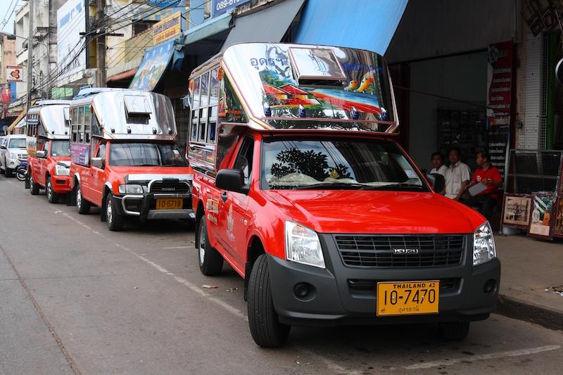 Songthaews (baht bus) in Udon Thani