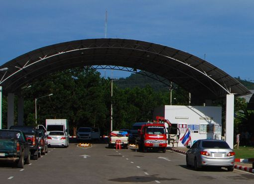 Vehicle inspection point in Chumphon Province