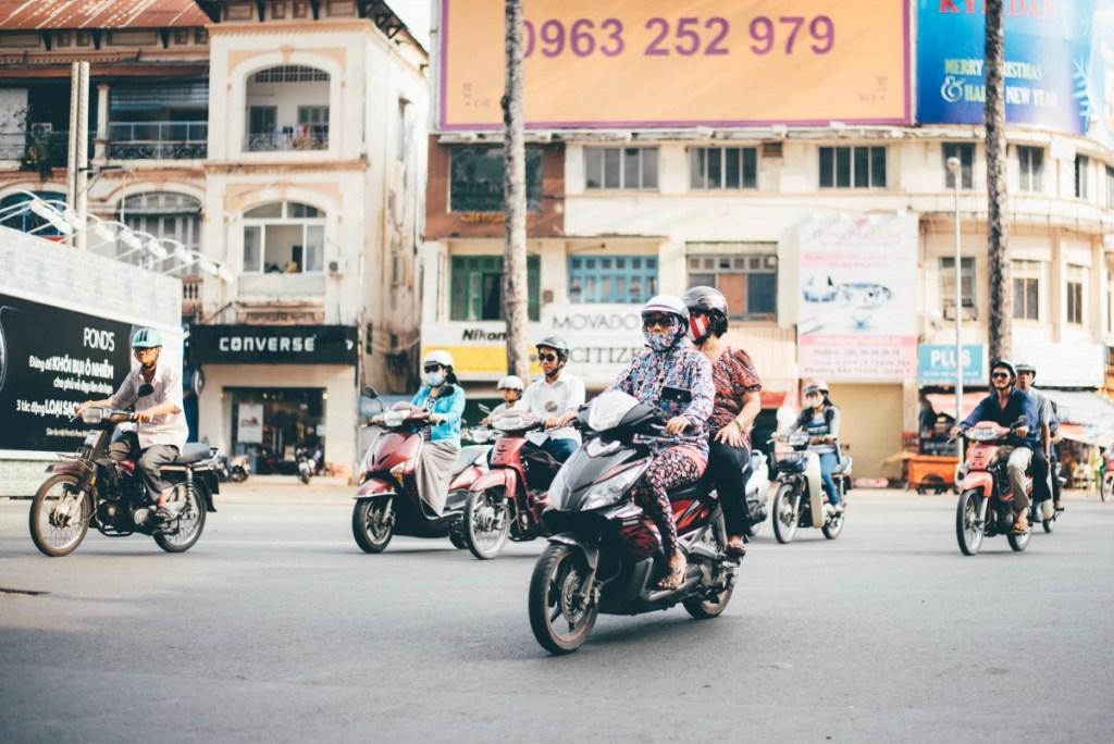 Motorcycles on the street in Vietnam
