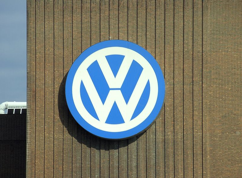 Volkswagen logo in the Wolfsburg factory