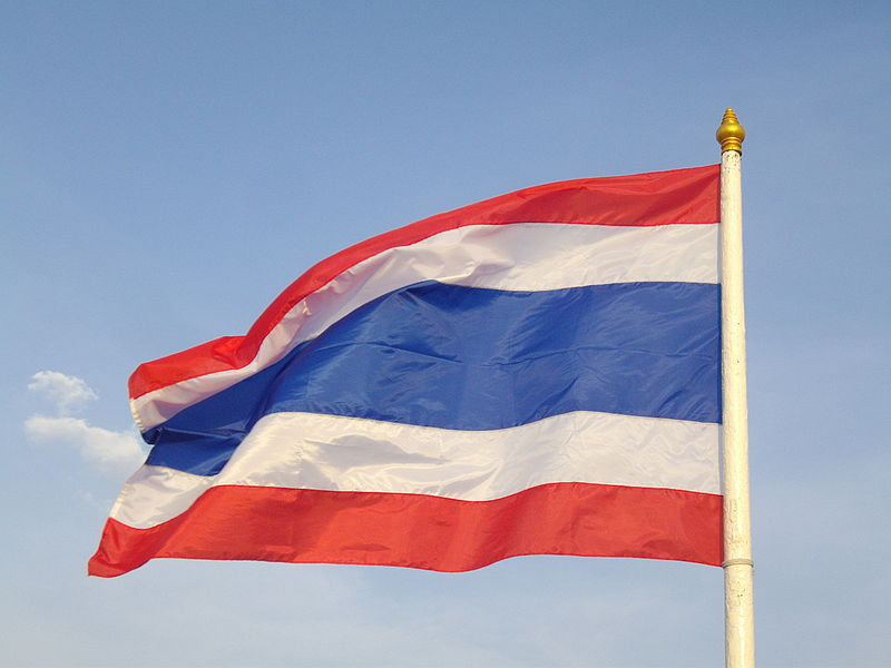 Waving flag of Thailand at Sanam Luang in Vesak Day
