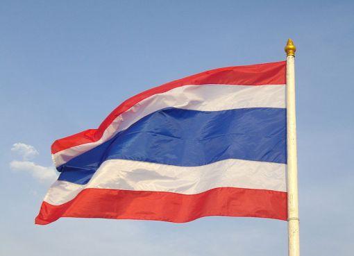 Waving flag of Thailand at Sanam Luang in Vesak Day