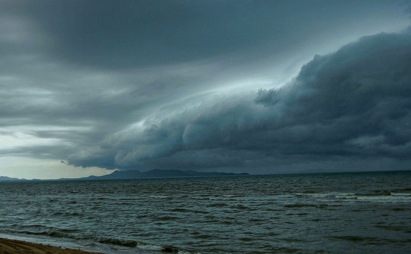Storm approaching on Pattaya Beach, Thailand
