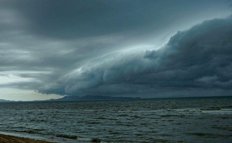 Storm approaching on Pattaya Beach, Thailand