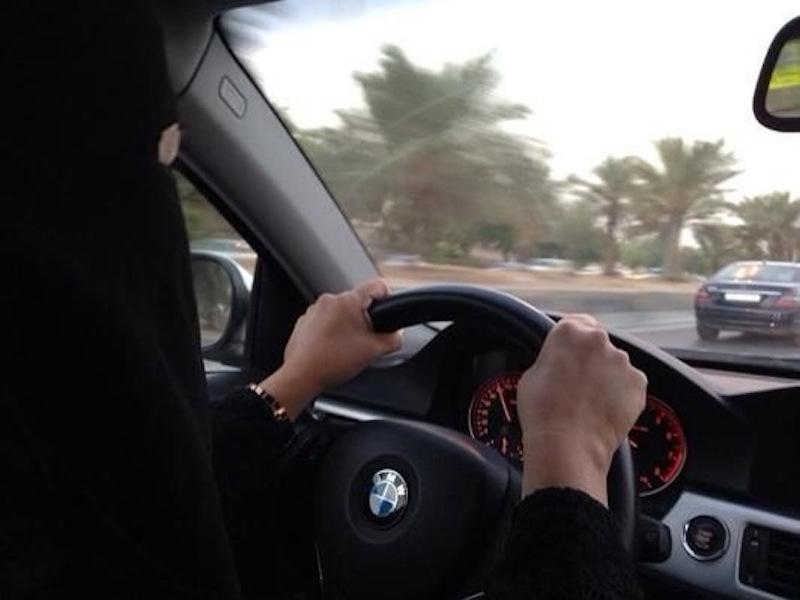 Saudi woman driving a BMW car