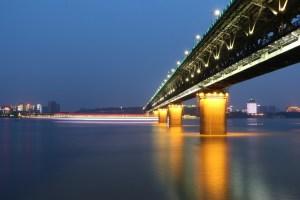 The Wuhan Yangtze Bridge, a double-deck road and rail bridge across the Yangtze River in Wuhan, China