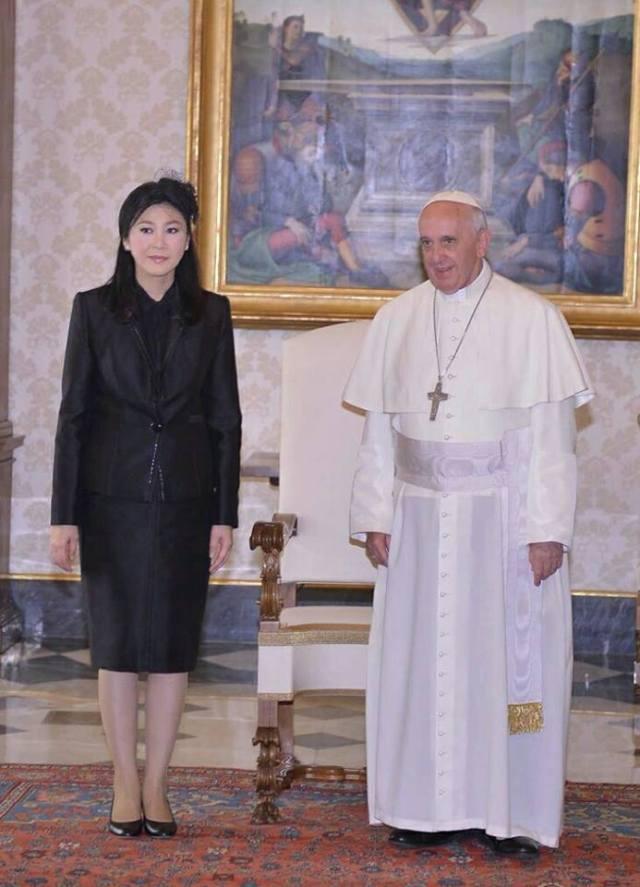 Yingluck Shinawatra and Pope Francis