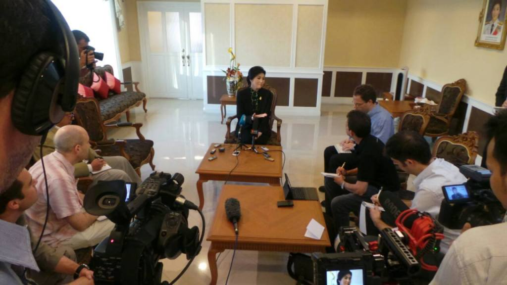 Yingluck Shinawatra during an interview at her office