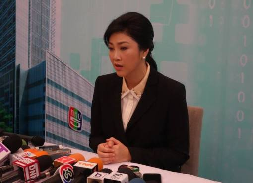 Yingluck Shinawatra during a press conference