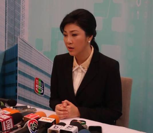 Yingluck Shinawatra during a press conference