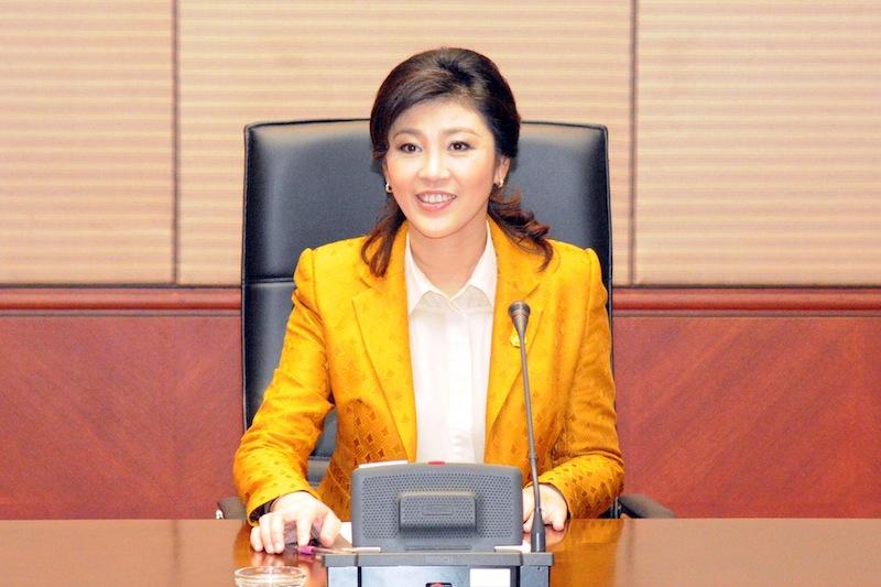Yingluck Shinawatra at her office