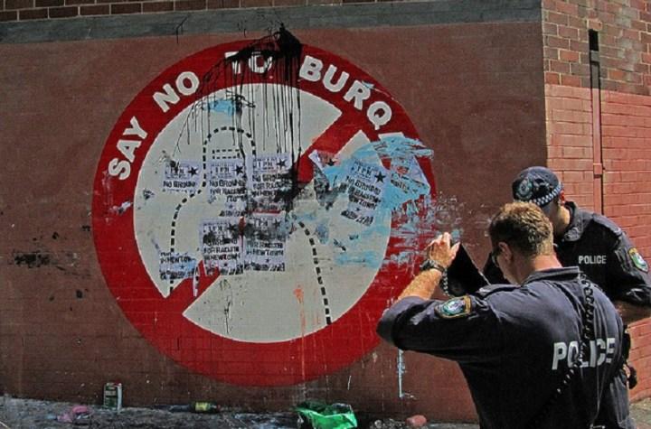 'Say No to Burqa' sign