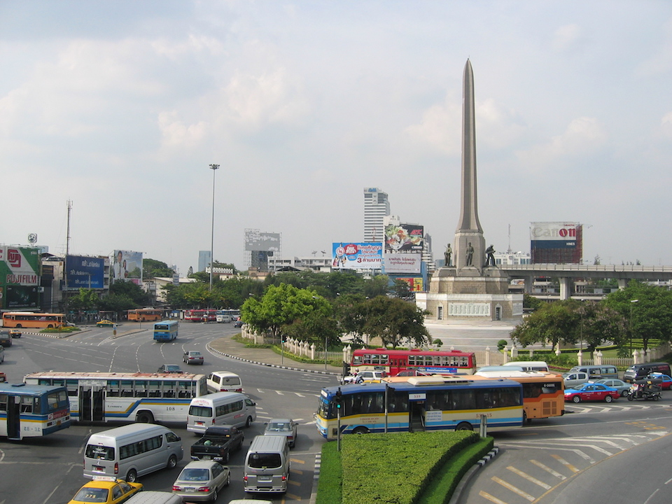 Minivans at the Victory Monument in Bangkok.
