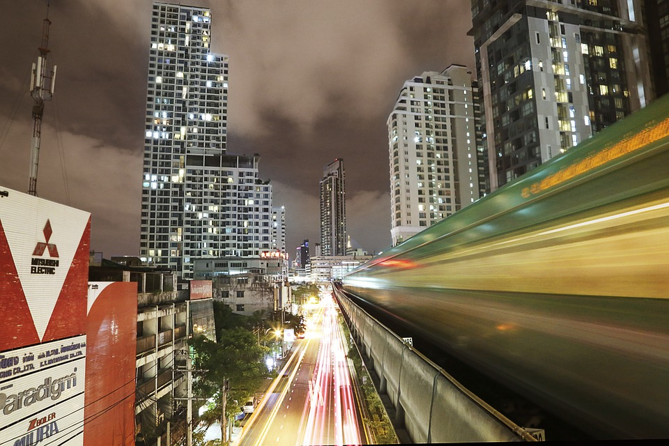 Bangkok Skytrain at night