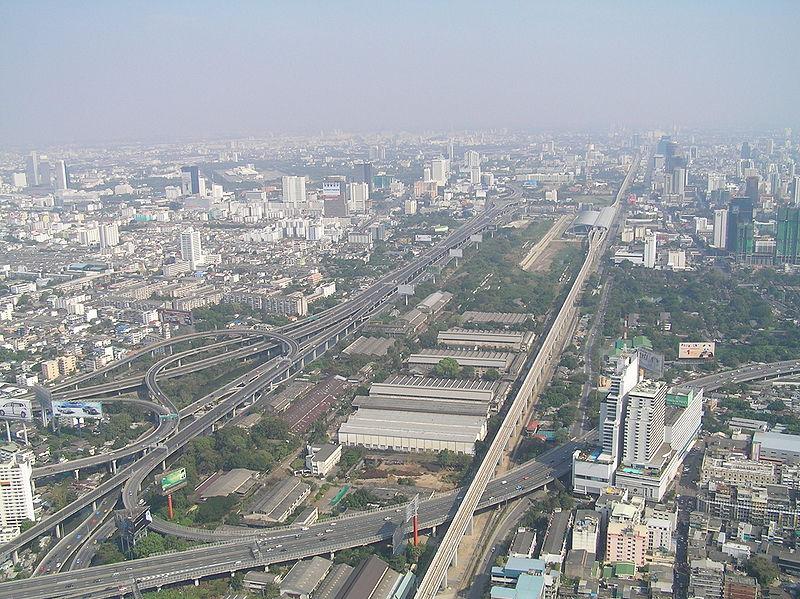 The Bangkok Airport Rail Link viewed from the Baiyoke Tower