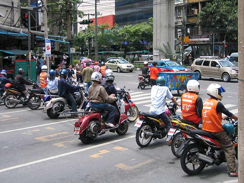 Motorbikes on a street in Bangkok