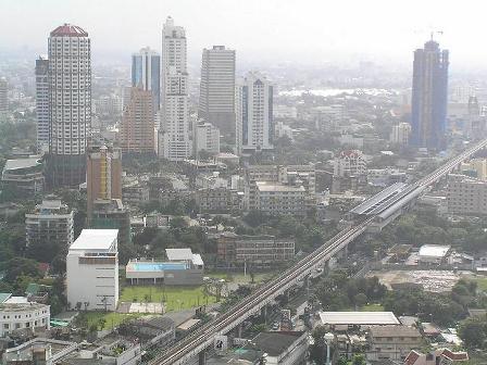Bangkok skyline and Airport Link