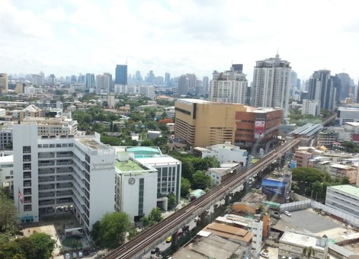 Wide-angle cityscape shot of Bangkok