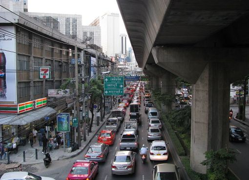 Traffic jam in Sukhumvit Road