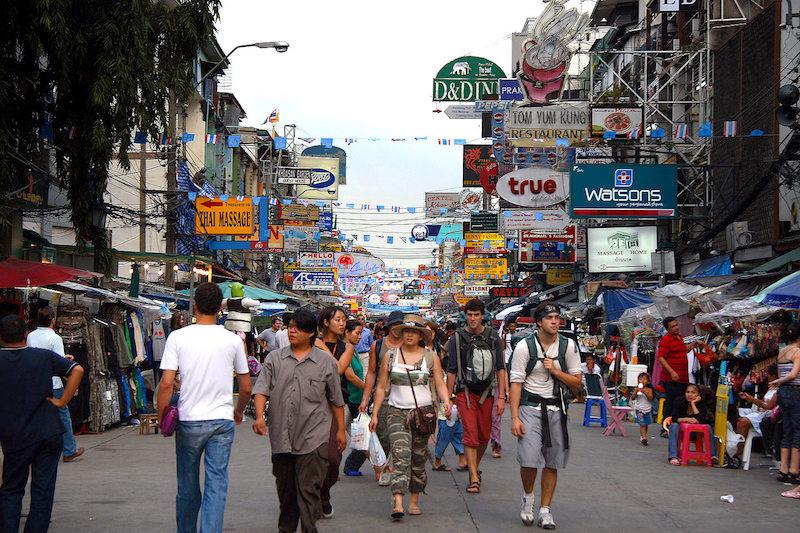 Tourists walking on Khao San road in Bangkok
