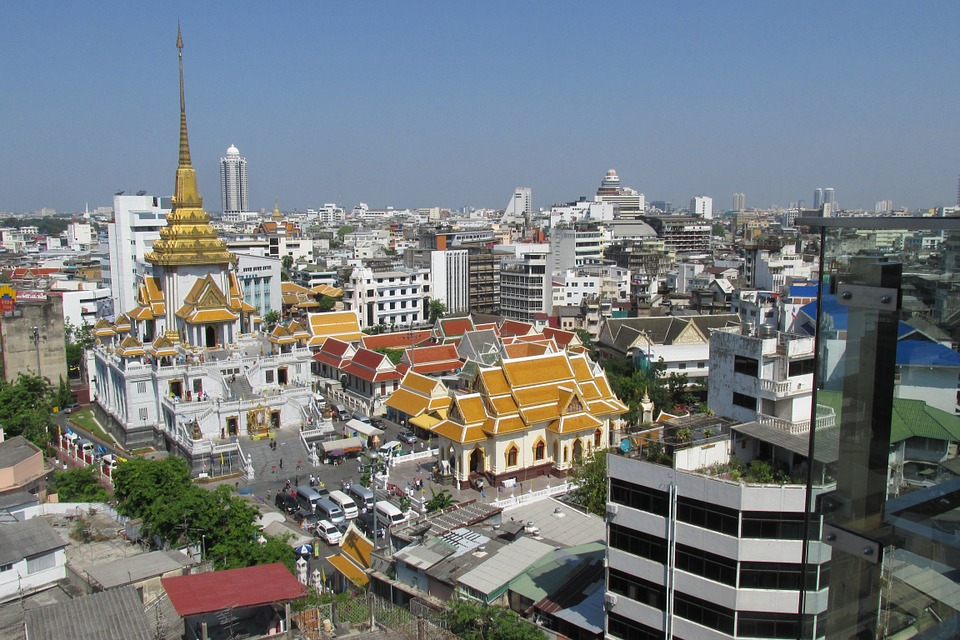 Buddisht temple and Bangkok skyline