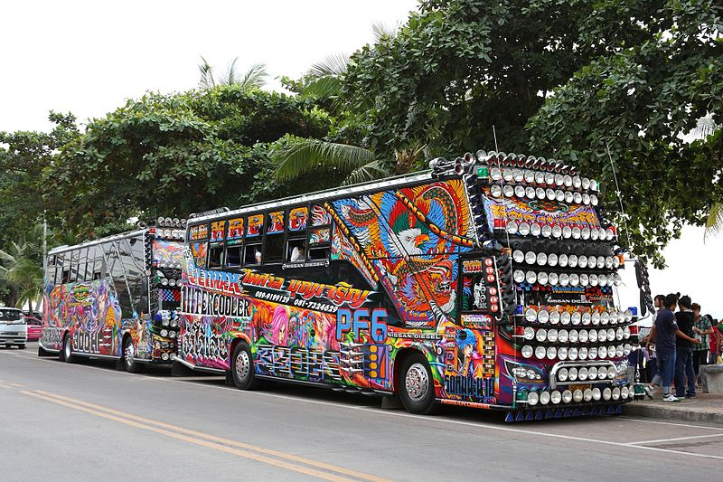 Decorated tour buses in Pattaya
