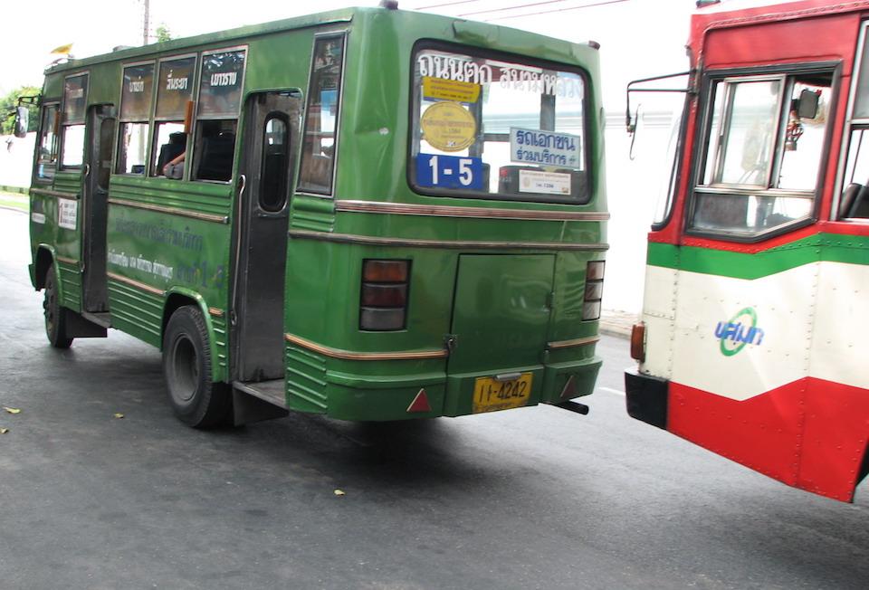 Green minibus in Bangkok
