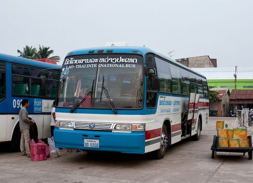 Lao-Thai international bus at Savannakhet bus terminal