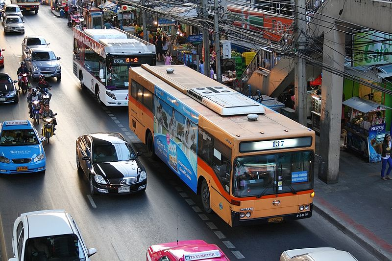 Buses and cars in Bangkok