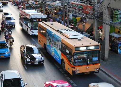 Buses and cars in Bangkok
