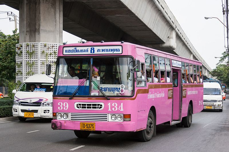 Old pink bus in Bangkok