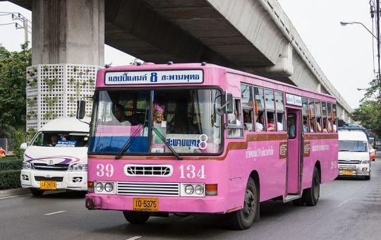 Old pink bus in Bangkok
