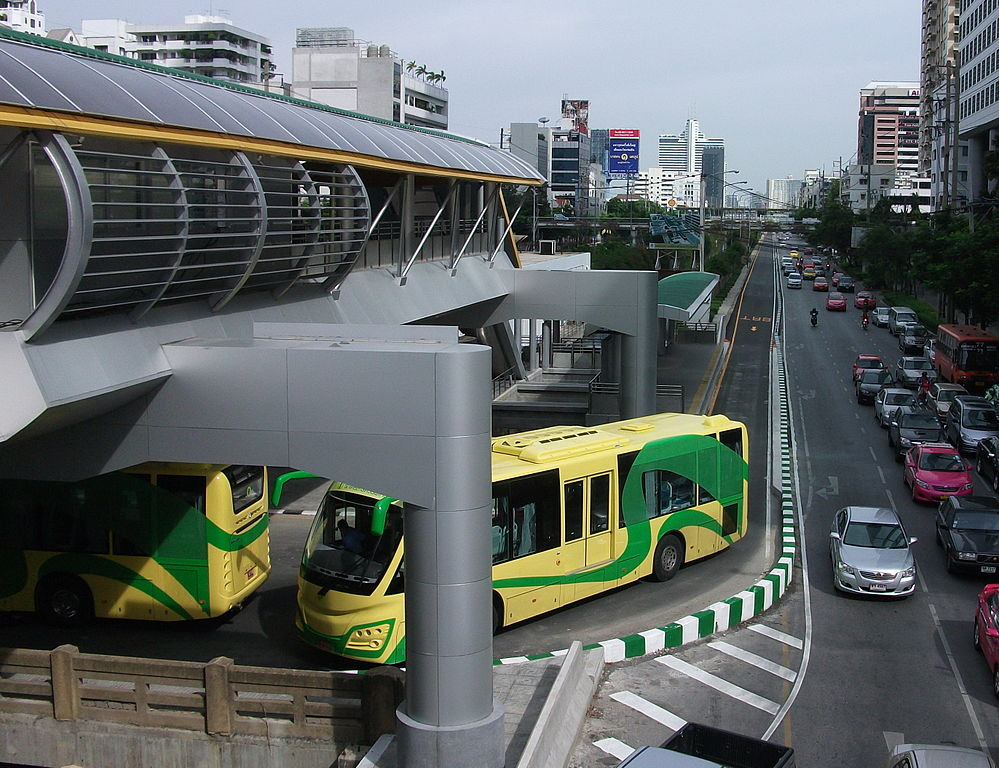 Sunlong buses at Sathorn Station in Bangkok