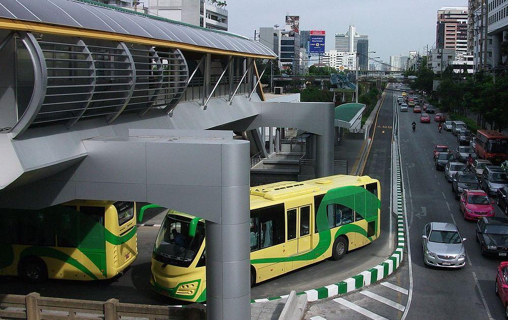 Sunlong buses at Sathorn Station in Bangkok