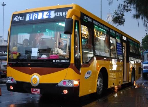 Yellow bus in Bangkok, Thailand. Zhong Tong chassis, bodywork by Thonburi Bus Body Co., Ltd.