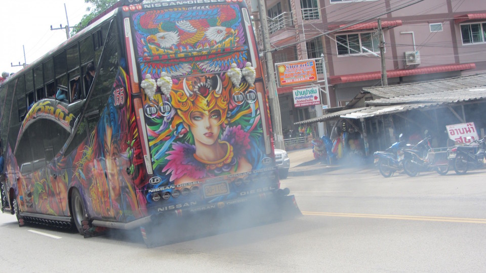 Custom Made bus exhausting co2 in Thailand