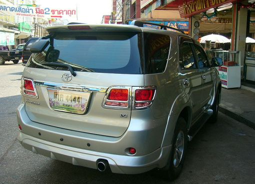 Rear view of Toyota Fortuner in Thailand
