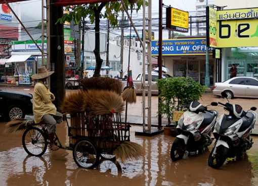Heavy rains flooded wide areas of Bangkok