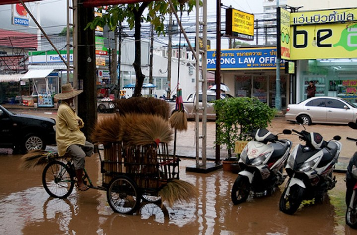Heavy rains flooded wide areas of Bangkok