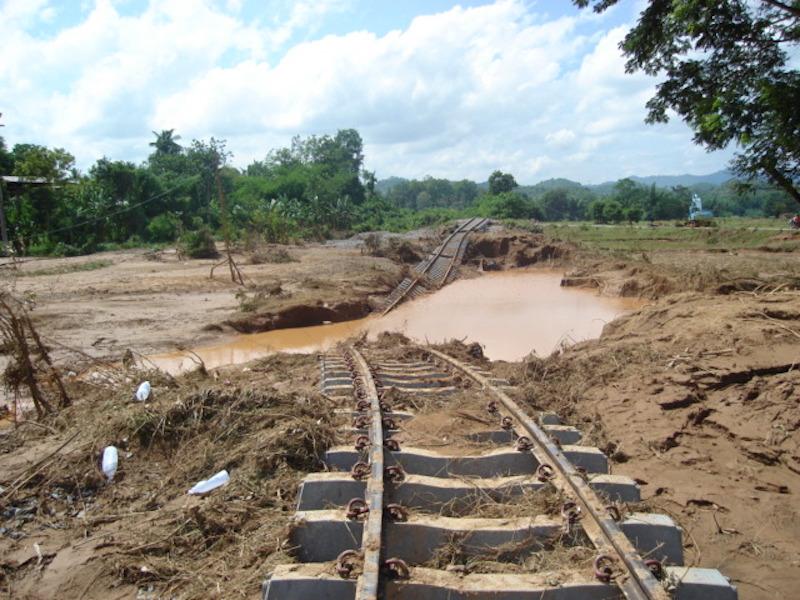 Flooded railway tracks in Uttaradit, Thailand