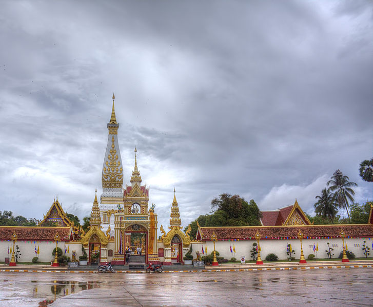 Historic Temple Wat Phra That Phanom in Nakhon Phanom flooded as Thai river overflows