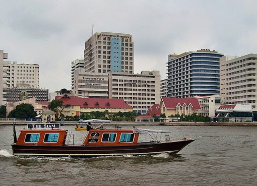 View of the Siriraj Hospital on the Chao Phraya River in Bangkok