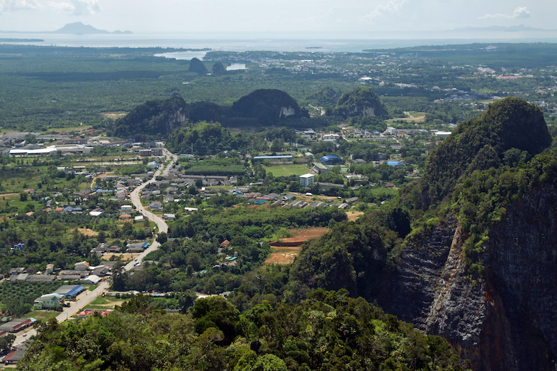 View of Krabi town from Wat Tham Sua, Tiger Cave Temple.