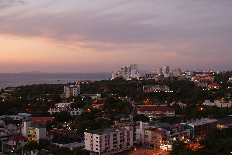Pattaya city night view from the 20-floor of Adriatic Palace hotel