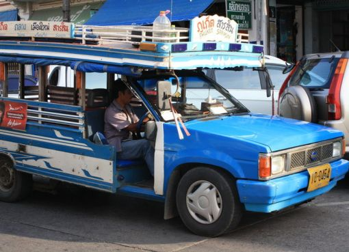 Public transport (songthaew) to the beaches of Phuket Town