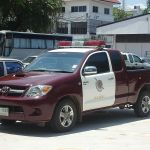 Toyota Hilux Thai police car in Phitsanulok, Thailand